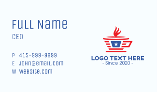 Patriotic Coffee Cup Business Card