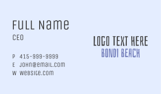Bondi Beach Business Card