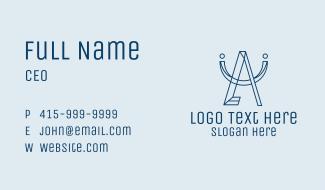 Geometric Blue Letter A Business Card