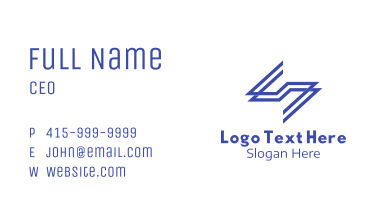 Blue Letter S Linear Business Card