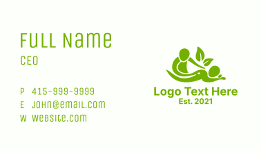 Green Massage Therapy Business Card