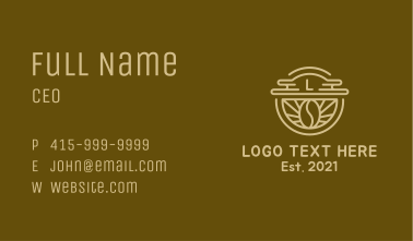 Coffee Bean Letter Cafe Business Card