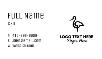 Minimalist Stork Brushstroke Business Card