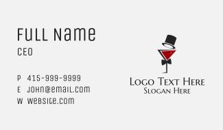Gentleman Wine Glass Business Card
