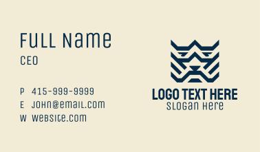 Blue Geometric Tiger Business Card