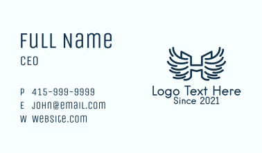 Blue Winged Letter H Business Card