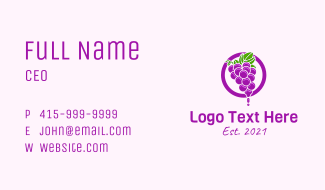 Grape Flavored Juice Business Card