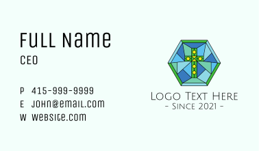 Religious Cross Stained Glass Business Card