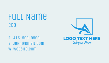 Blue Letter A Airline Business Card