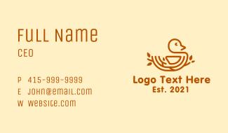 Brown Nest Bird  Business Card