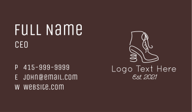 White Scribble Boots Business Card