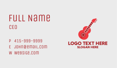 Red Guitar Player Business Card