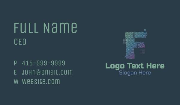 Modern Glitch Letter F Business Card