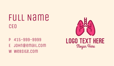 Pink Respiratory Lungs Business Card
