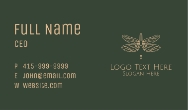 Dragonfly Fountain Pen Business Card