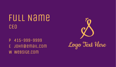 Gold Sparkle Letter S Business Card