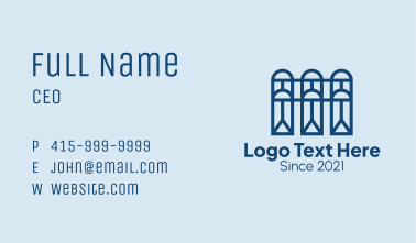 Blue Construction Window Business Card