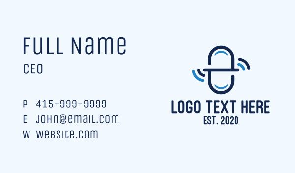 pharmacist - Blue Medicine Signal Letter E Business card horizontal design