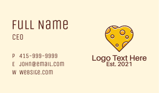 Cheddar Cheese Heart  Business Card