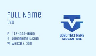 Blue Shield Letter V Business Card