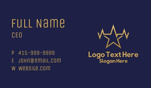 superstar - Electric Gold Star  Business card horizontal design