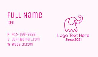 Pink Minimalist Elephant  Business Card