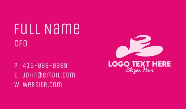 sun hat - Pink Fashion Hat Business card horizontal design