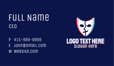 Glitchy Thespian Mask Business Card