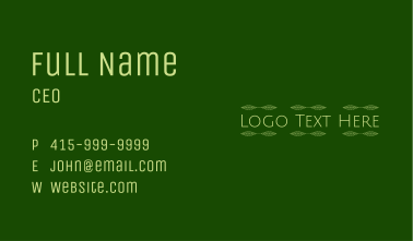 Tea Shop Wordmark Business Card