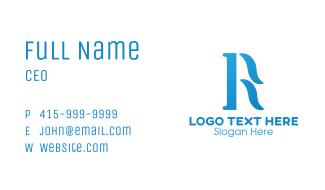 Blue Cursive R Business Card