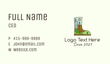 Outdoor Hiking Boots Business Card