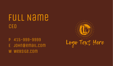 Yellow Sun Rays Letter Business Card