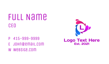 Multicolor Play Letter  Business Card