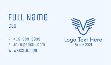 Minimalist Wings Letter V Business Card