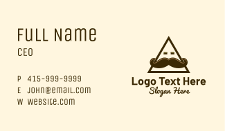 Triangle Mustache Face Business Card