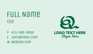Loopy Handwritten Letter Q Business Card