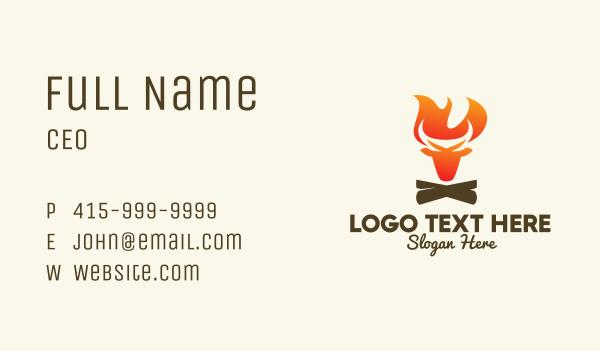 ox - Bull Bonfire Business card horizontal design