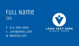Blue Letter V Business Card