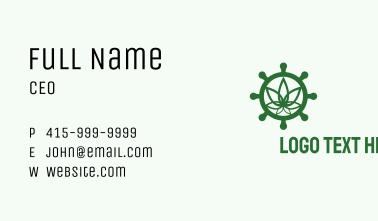 Green Marijuana Helm  Business Card