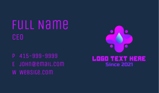 Neon Medical Droplet Business Card