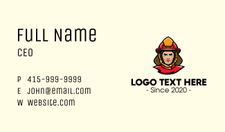 Fireman Rescue Mascot Business Card