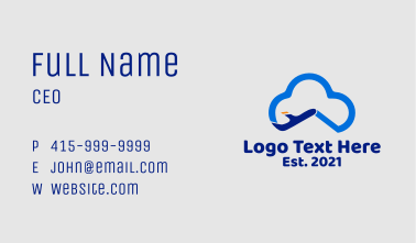 Cloud Aviation Plane  Business Card