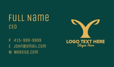 Golden Plant Letter Y Business Card