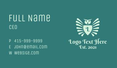 Owl Crest Shield Letter Business Card