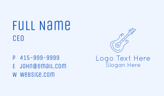 Electric Guitar Outline  Business Card