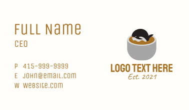 Whale Cafe Coffee Business Card