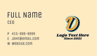 Record Label Letter D Business Card
