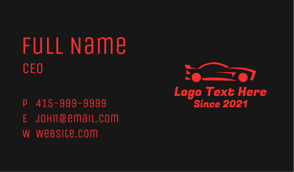 drag racing - Red Race Car Business card horizontal design