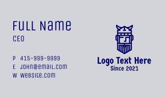 Monoline Viking Face Business Card