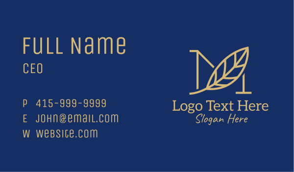 quill - Gold Leaf Letter M  Business card horizontal design
